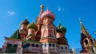 clouds over St. Basil's Cathedral in Moscow,  timelapse video