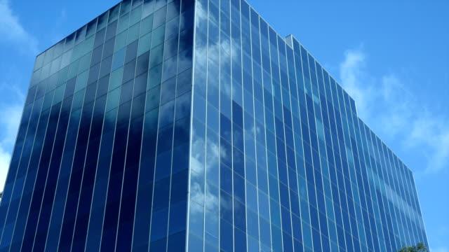 Clouds reflections in Skyscraper glass video