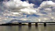 Clouds Roll Fast Past Pioneer Memorial Bridge and the Columbia River Kennewick Washington video