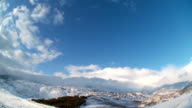 Clouds Time Lapse over snowy Hermon mountain video