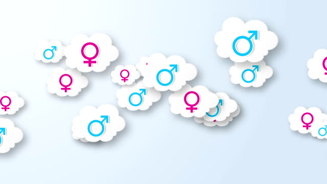 Clouds with gender symbol animation. video