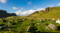 T/L Cloudscape over cemetery in Iceland video