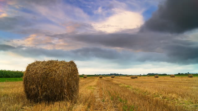 HD TIME LAPSE: Cloudscape Over Hay Bales video