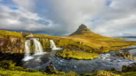 T/L 8K Cloudscape over Kirkjufellsfoss waterfall video