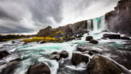 T/L Cloudscape over Oxarafoss waterfall video