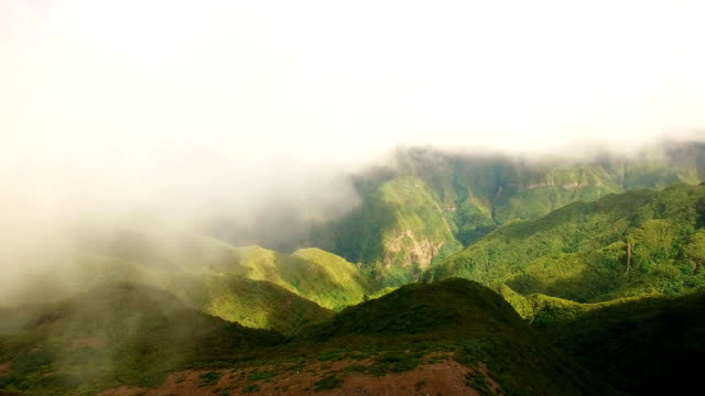 Cloudy landscape with Madeira's peaks from drone, Portugal video