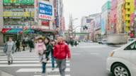 Clowd of people on walking street shopping Akihabara area, Tokyo, Japan. video