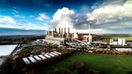 AERIAL : Coal burning power plant video