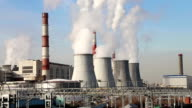 Coal burning power plant with smoke stacks, Moscow, Russia video