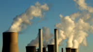 Coal fired power station producing air pollution video