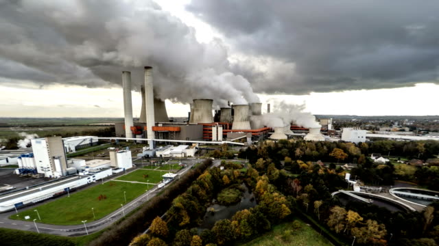 AERIAL : Coal fired Power Station video