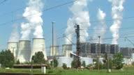Coal fired powerplant smokestacks video