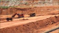 Coal mine. The dredge loads the truck coal video