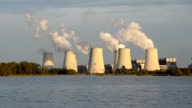 Coal power plant on a lake video