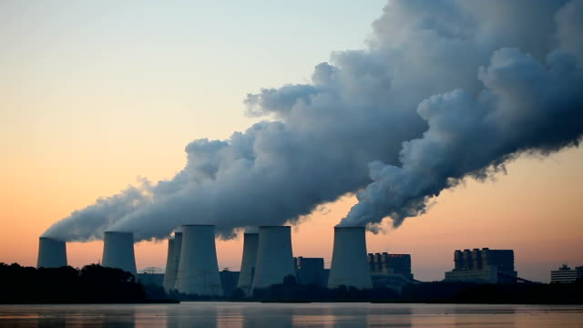 Coal-fired Power Plant at sunrise video