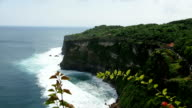 Coast at Uluwatu temple aerial view, Bali, Indonesia video