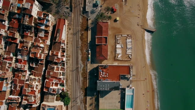 Coast in Barcelona, aerial view video