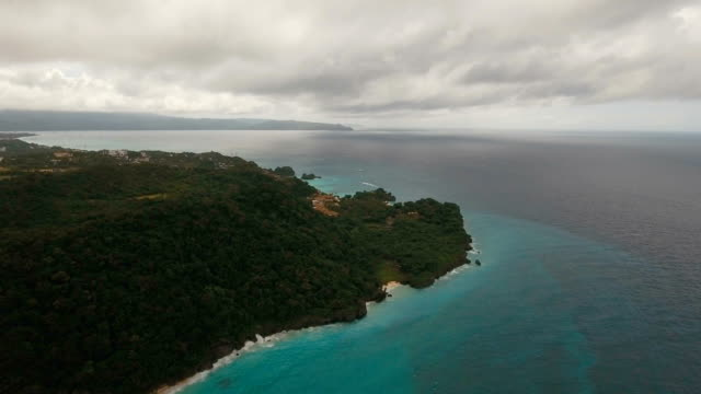 Coast sea in stormy weather.Aerial view:Boracay island Philippines video