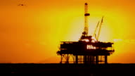Coastal Oil Production Platform Sunset video