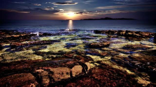 Coastal twilight scene video