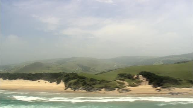 Coastline Near Nqakanga  - Aerial View - Eastern Cape,  Amathole District Municipality,  Mbhashe,  South Africa video