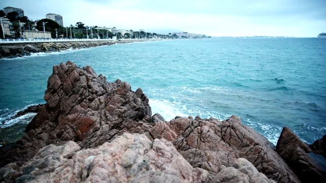 Coastline of Cannes. Slow motion. video