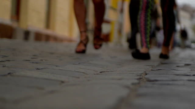 cobbled street  in Cluj Napoca, Romania slow motion video
