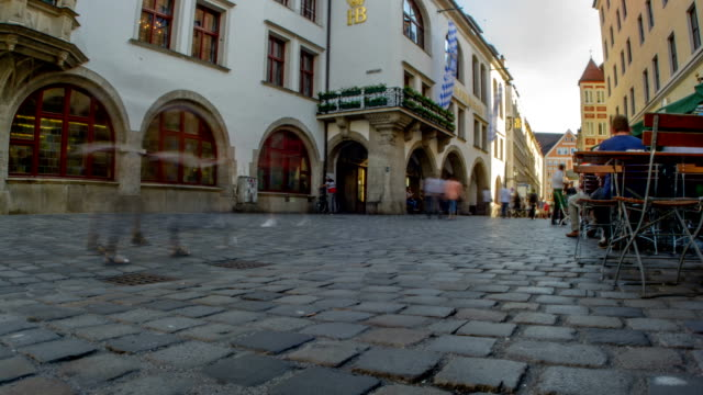 Cobbled street in front of Hofbrauhaus brewery in Munich video