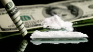 Cocaine snorted on a mirror through rolled 100 dollar note video
