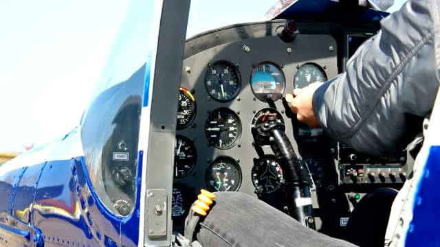 Cockpit of a sports airplane video