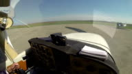 Cockpit View from Small Aircraft Taking Off From Airport video