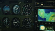 POV cockpit view of small plane instruments and flight controls video