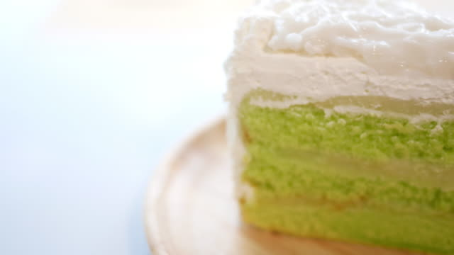 Coconut cake on the wood dish video