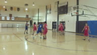 Co-ed high school basketball players competing in a game video