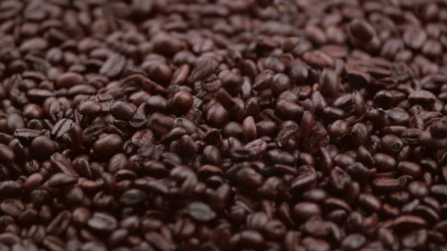 Coffee beans falling in slow motion video