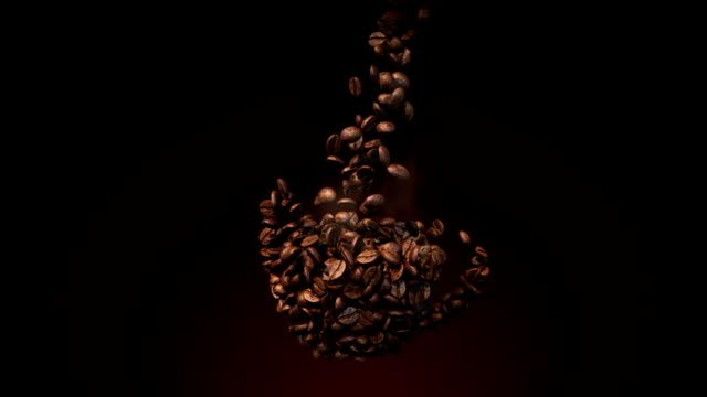 Coffee beans flow in cup shape video