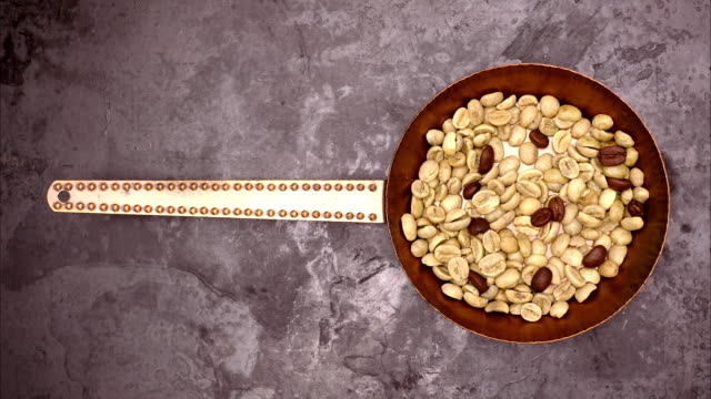 Coffee beans roast animation top view video