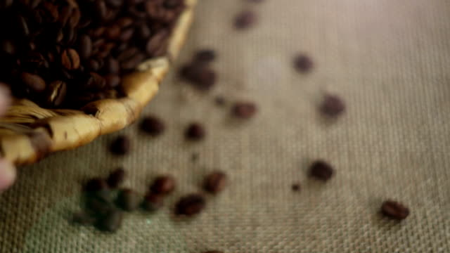 Coffee beans spilling out of a basket. Man lays out coffee beans on the table video