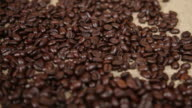 Coffee beans with diagonal dolly move video