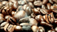 Coffee beans with smoke video