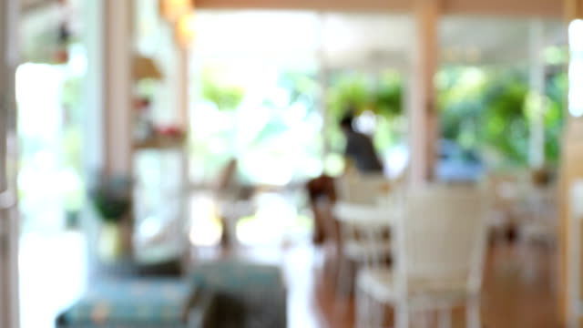 coffee cafe scene, blur shot 4k video
