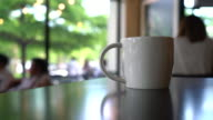 coffee cup in coffee shop video