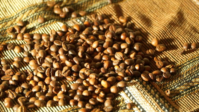 Coffee grains are falling video