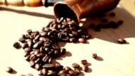 Coffee grains on a board video