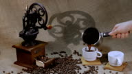 coffee grinder and coffee beans video