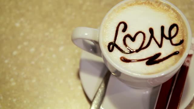 Coffee latte art, love heart symbol video