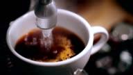 Coffee machine. Process of preparation of coffee. A close up video