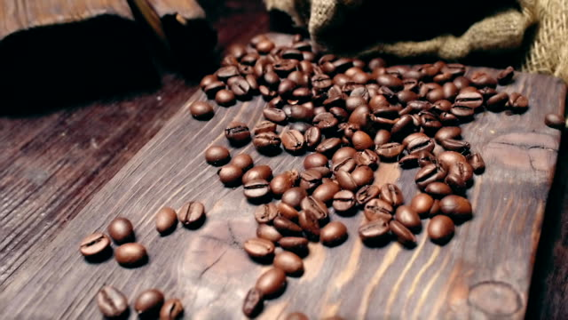 Coffee on brown wood video
