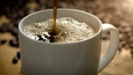 Coffee Slow Motion Pour Macro with Coffee Beans video