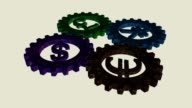 Cogwheels with currency symbols video